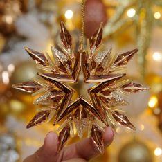 11cm Rose Gold Starburst Christmas Tree Decoration