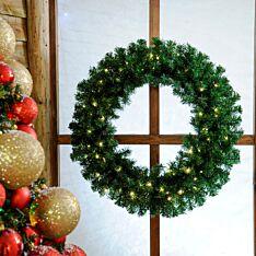 80cm Outdoor Green Battery Pre-Lit Christmas Wreath