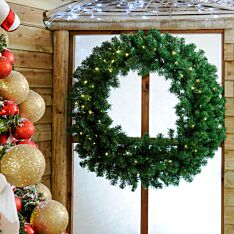 100cm Outdoor Green Battery Pre-Lit Christmas Wreath