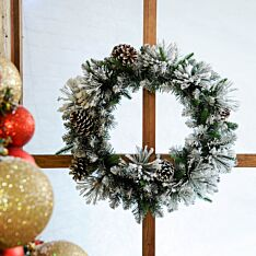 60cm Flocked Christmas Wreath with Cones