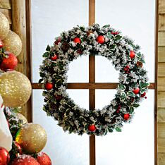 80cm Frosted Holly Christmas Wreath