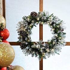 60cm Green Battery Pre Lit Flocked Christmas Wreath
