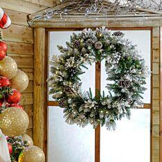80cm Outdoor Green Battery Pre Lit  Flocked Christmas Wreath