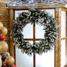 100cm Outdoor Green Battery Pre Lit Flocked Christmas Wreath