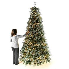 9ft Pre Lit Green Snow Effect Liberty Pine Artificial Christmas Tree with Pine Cones