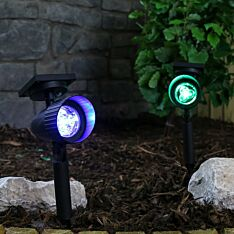Solar Spot Light with Colour Lock, White and Colour Changing LEDs, 2 Pack, 35cm