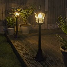 Solar Filament Effect LED Security Lamp Post, 1.2m, 2 Pack