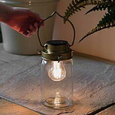 Solar Antique Brass Glass Jar Lantern