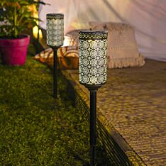 Solar Pewter Moroccan Stake Light, 2 pack