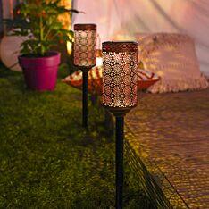 Solar Antique Brass Stake Light, 2 pack