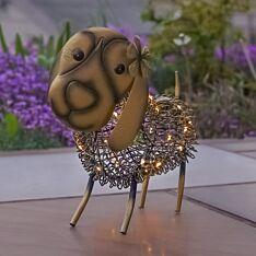 Solar Antique Brass Metal Novelty Dog Light