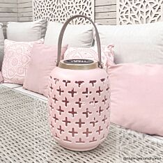 Solar Pink Ceramic Lantern