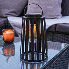 Solar Black Cage Filament Effect LED Lantern