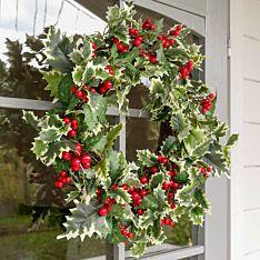 40cm Outdoor Holly Berry Christmas Wreath