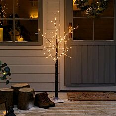4ft Outdoor Snow Effect Twig Tree, 120 Warm White LEDs