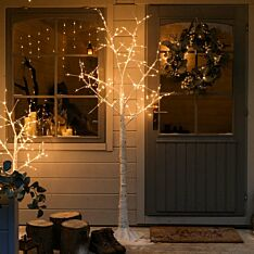 6ft Outdoor Birch Twig Tree, 180 Warm White LEDs