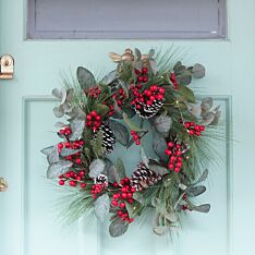 60cm Red Berry and Pinecone Christmas Wreath