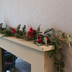 1.8m Red Berry and Pinecone Christmas Garland