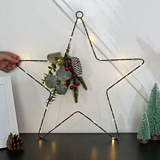 50cm Battery Hanging Star with Red Berry & Pinecones Christmas Decoration