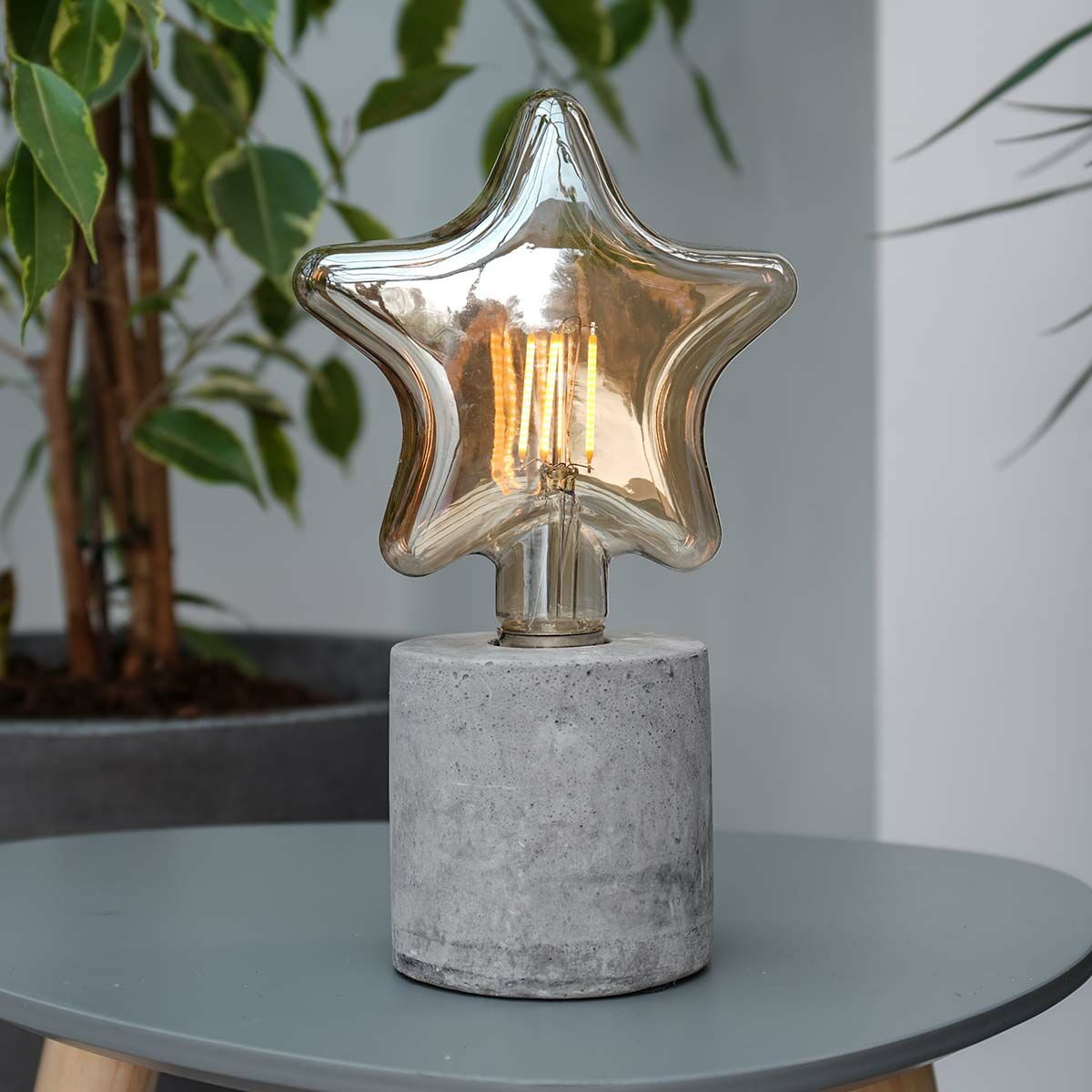Battery Concrete Star Filament Effect LED Table Lamp