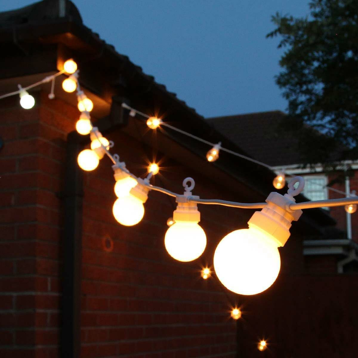 Outdoor Festoon Lights, Connectable, Warm White LEDs, Frosted Bulbs, White Cable