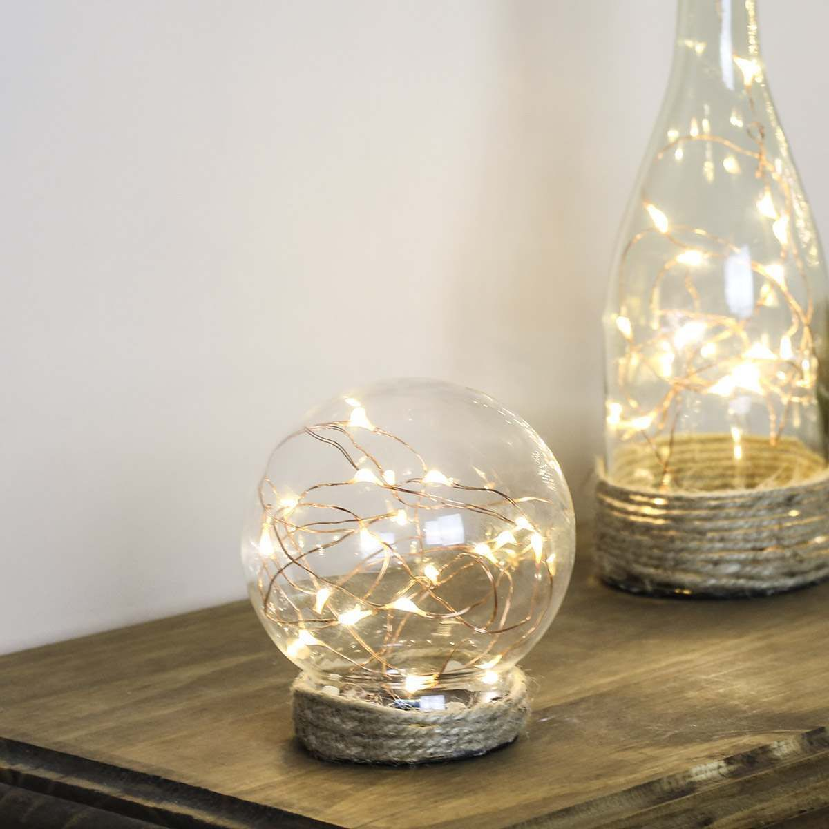 Battery Glass Dome with Copper Wire Lights