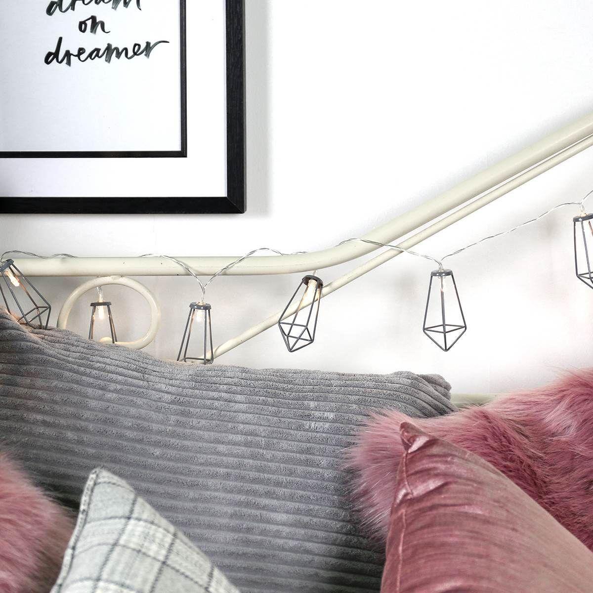 Battery Grey Metal Lantern Fairy Lights, 10 Warm White LEDs