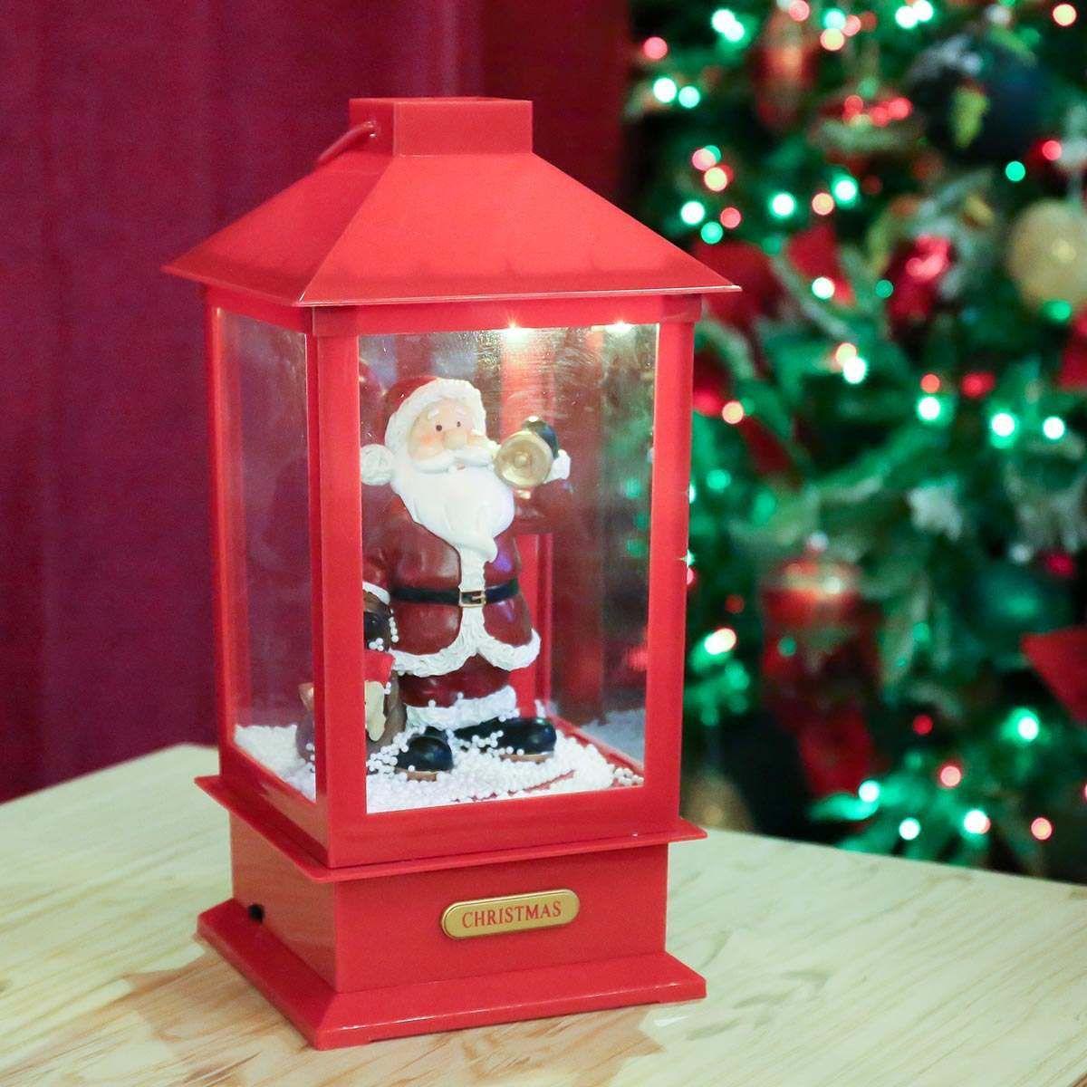 LED Christmas Santa Snowing Lamp Post
