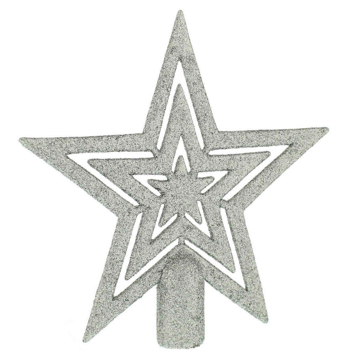 17cm Silver Glittered Star Christmas Tree Topper Decoration