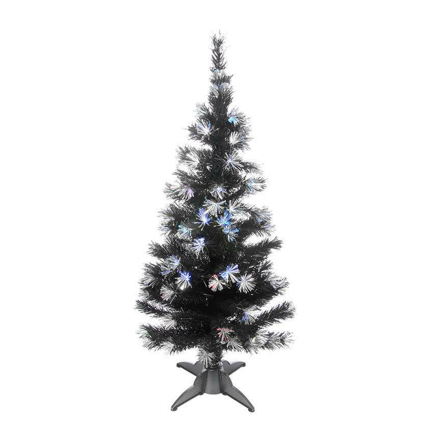 5ft Black Fibre Optic Christmas Tree with Silver ...