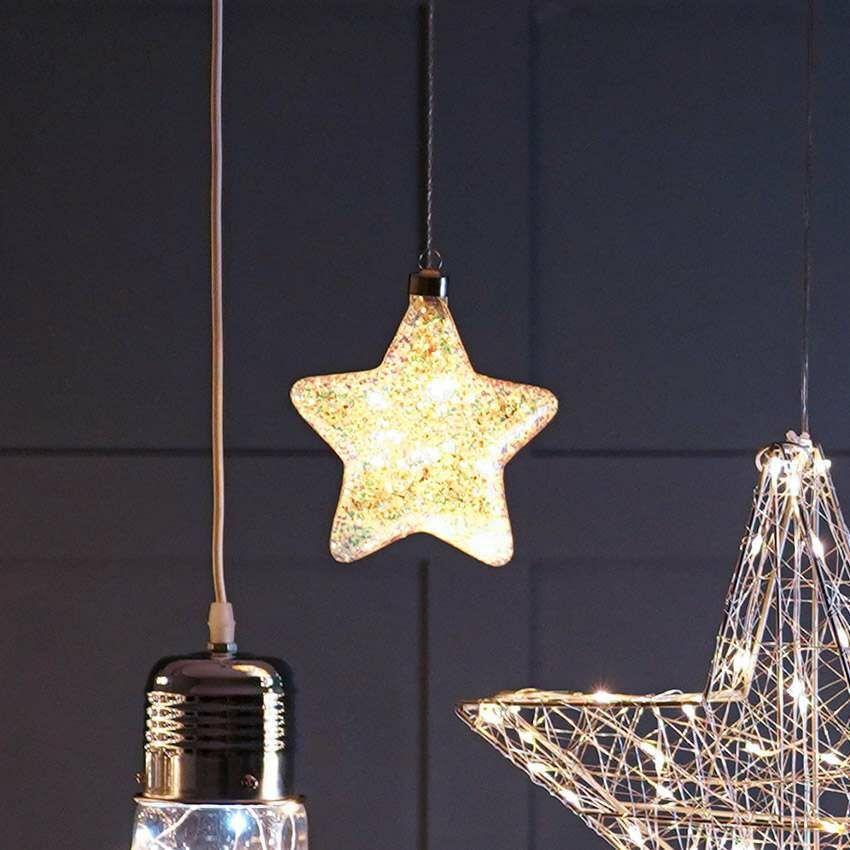 15cm Battery Glass LED Glittered Star Hanging Light