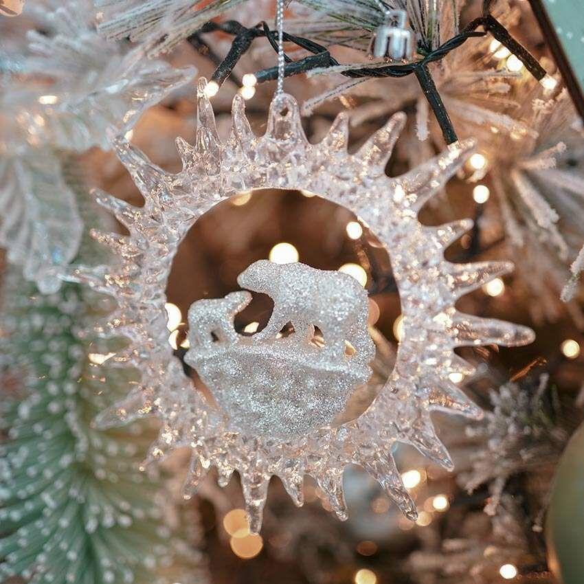 9cm Clear Polar Bear Snowflake Christmas Tree Decoration
