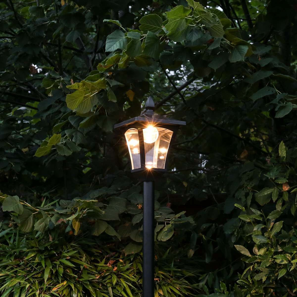 Large Black Solar Lamp Post, 2.1m