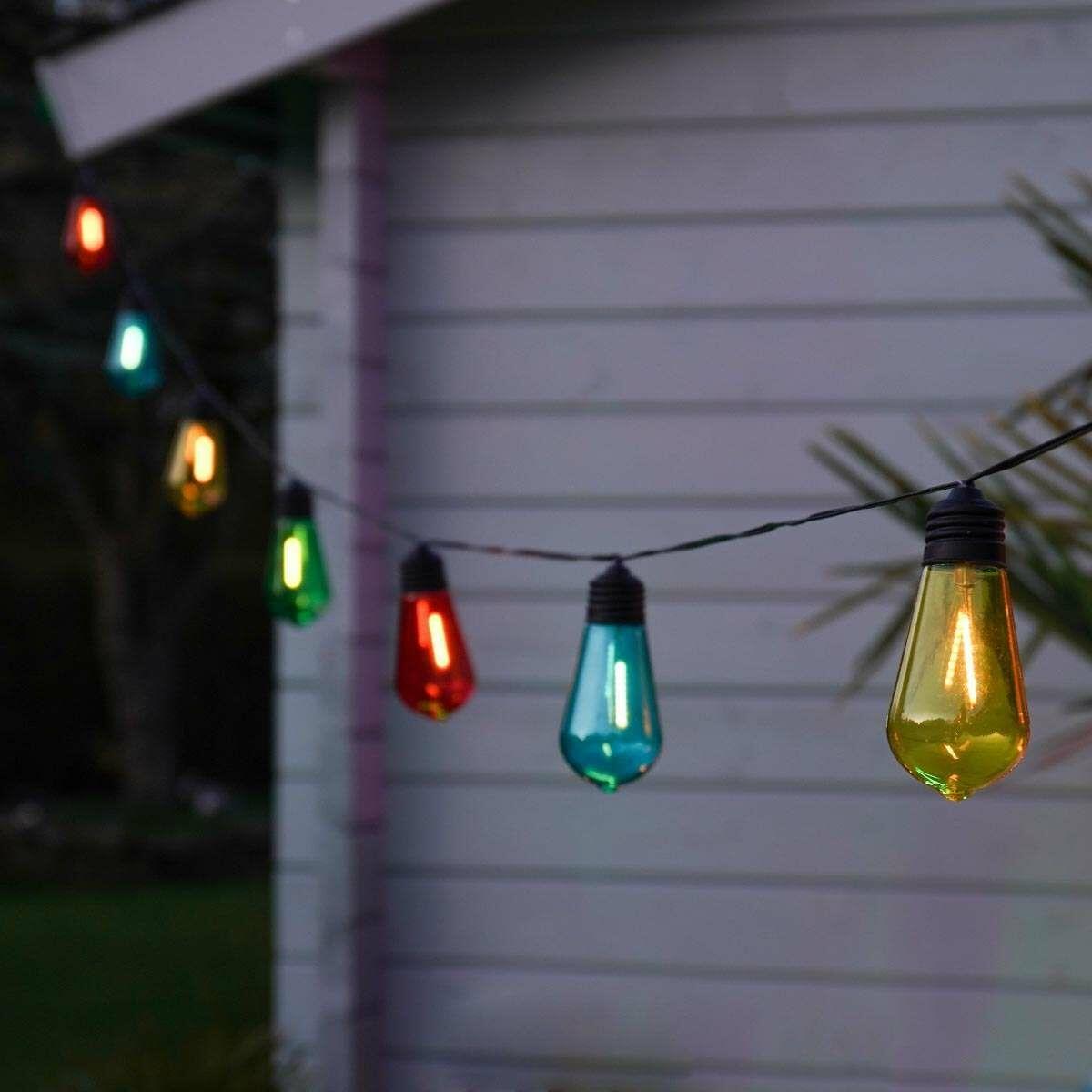 Solar Filament Effect Multi Coloured LED Festoon Lights