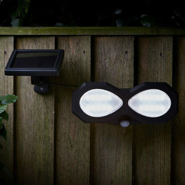 Solar Twin LED Security Light with PIR Sensor
