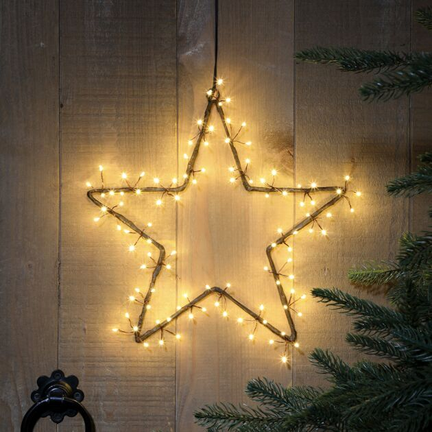 Hanging Cluster Star Christmas Silhouette, Antique White LEDs