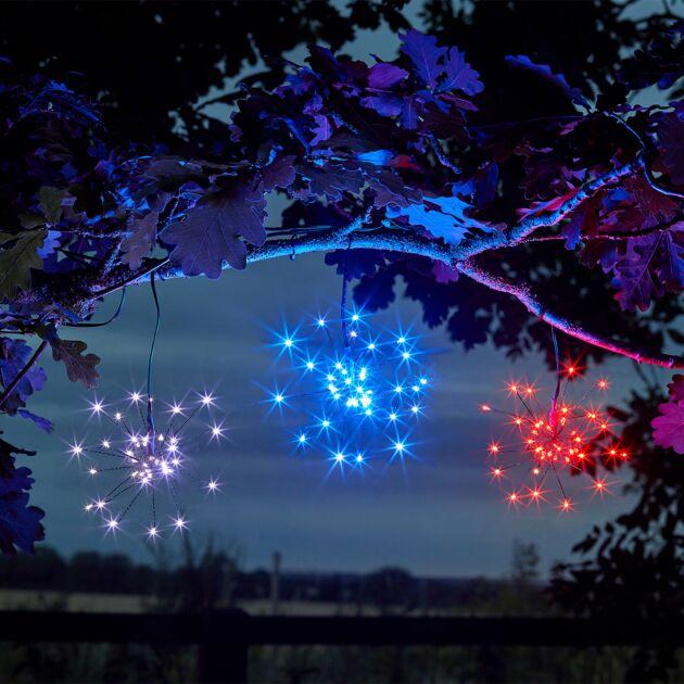 1.5m Solar Triple Starburst String Light, Warm White and Multi Colour LEDs