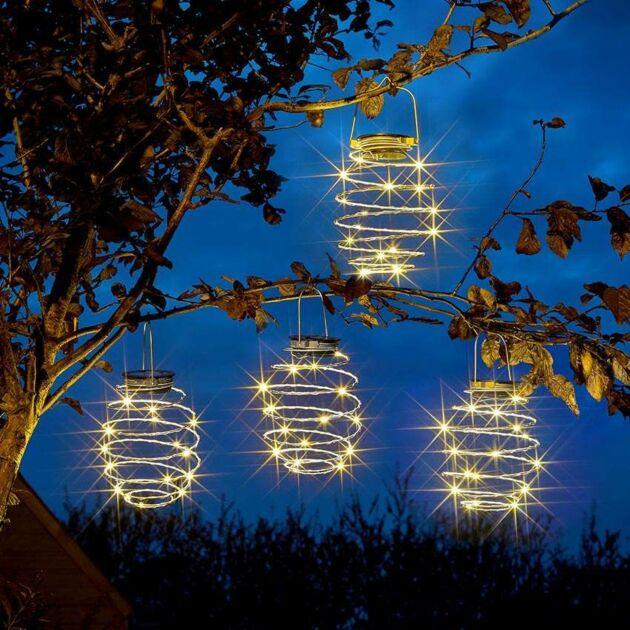 Solar Hanging Spiralites Lantern Lights, 4 Pack