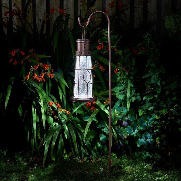 Solar Lighthouse Lantern Light with Crook