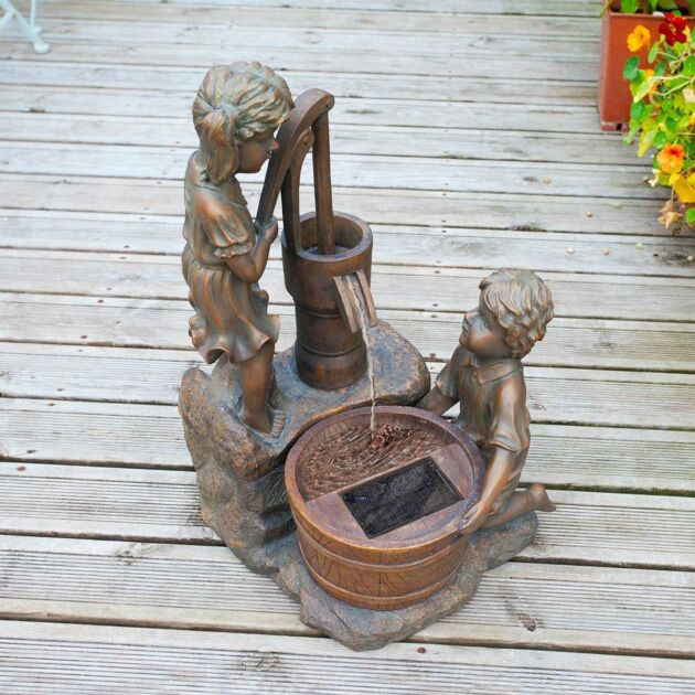 Solar Boy and Girl with Pump Water Feature