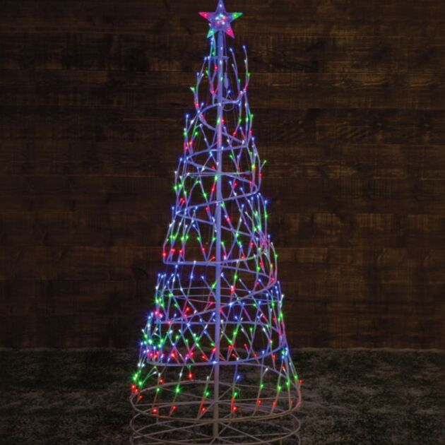 2.5m Outdoor Spiral Christmas Tree, Multi Coloured Twinkle LEDs