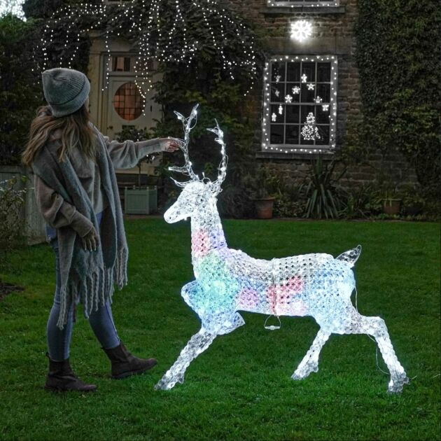 1.4m Northern Lights Jewelled Stag Figure, 206 Multi Coloured LEDs