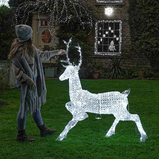 1.4m Northern Lights Jewelled Stag Figure, 206 White LEDs