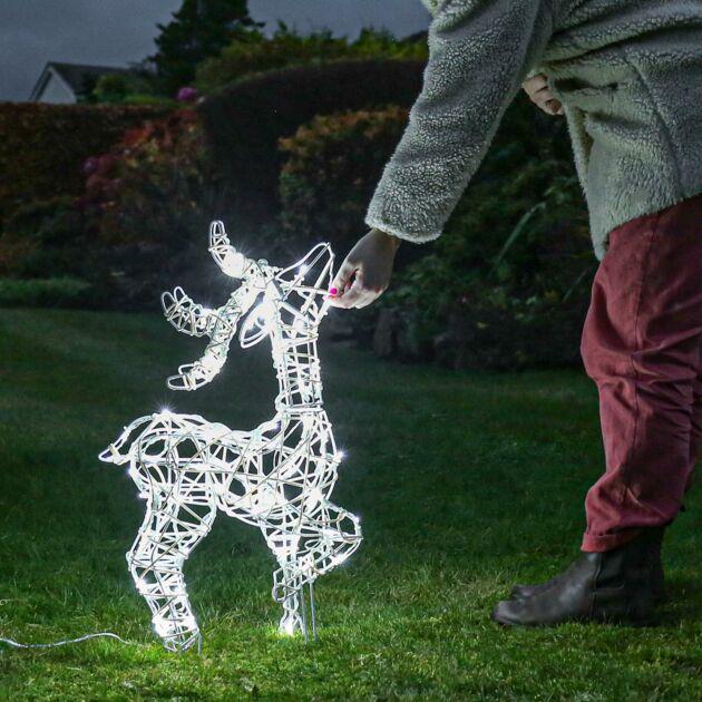 39cm Outdoor Standing Reindeer Figure, 80 White LEDs
