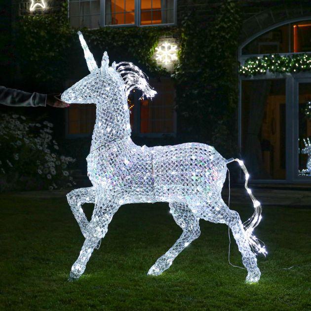 1.6m Northern Lights Jewelled Unicorn Figure, 736 Multi Coloured LEDs