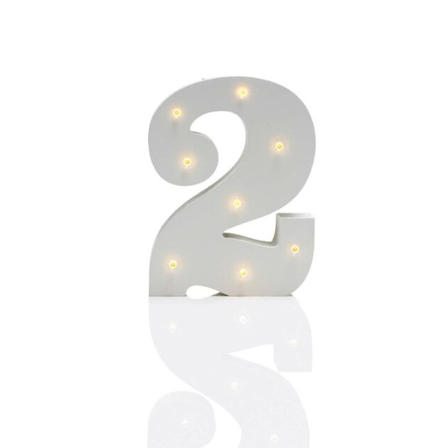 Number '2' Marquee Battery Light Up Circus Letter, Warm White LEDs, 16cm