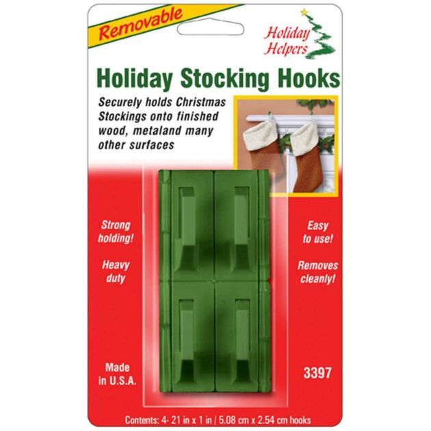 Removable Stocking Holders - Green 4 pack