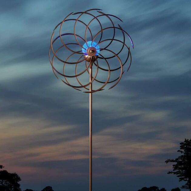 Solar Spiro Wind Spinner Stake Light