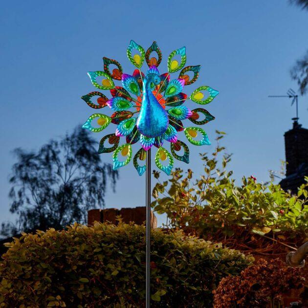 Solar Peacock Wind Spinner Stake Light