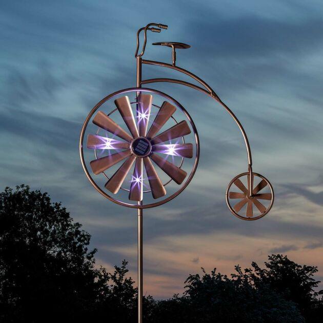 Solar Penny Farthing Wind Spinner Stake Light